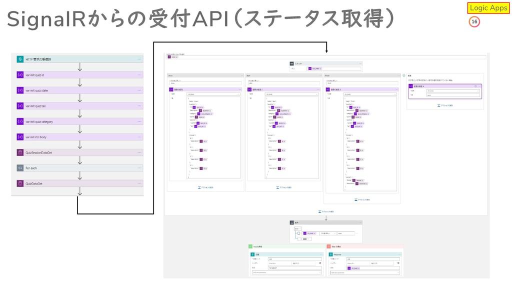 16 SignalRからの受付API(ステータス取得) Logic Apps