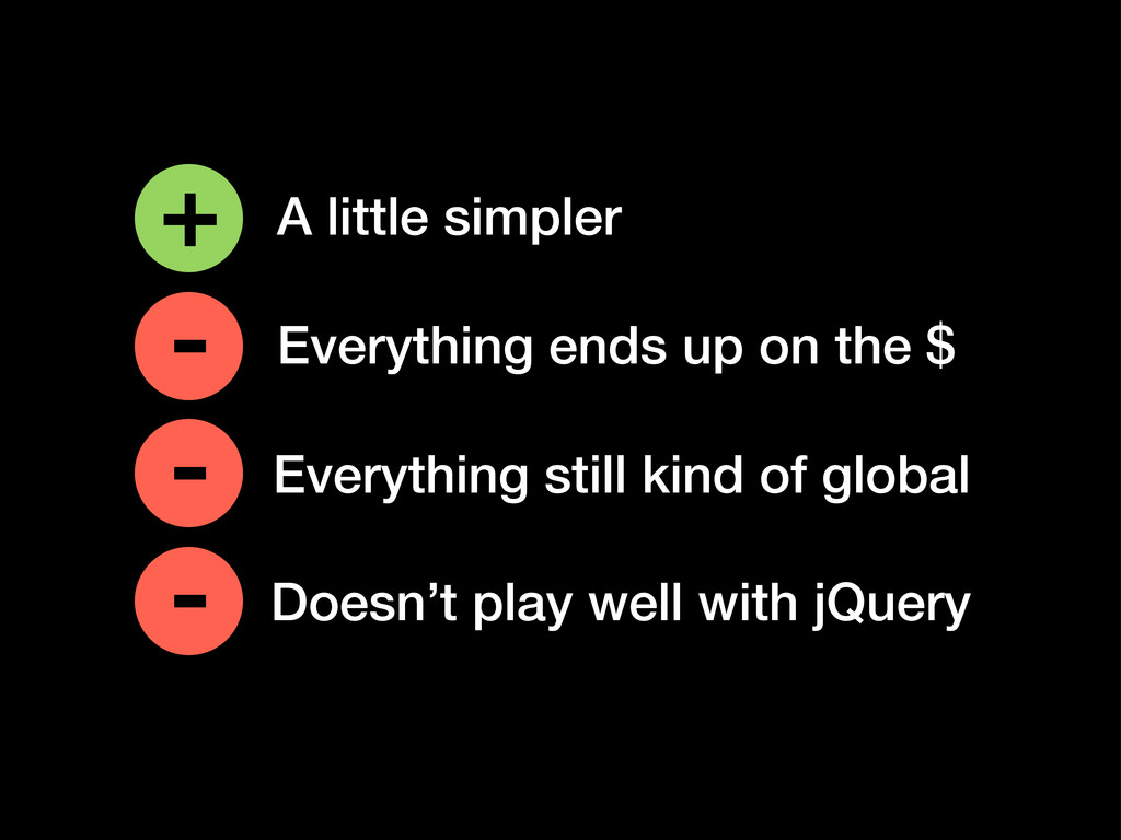 Doesn't play well with jQuery + - A little simp...