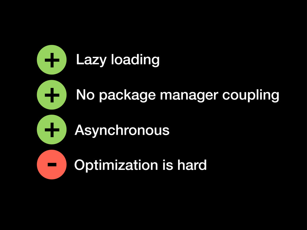 Optimization is hard + - Lazy loading No packag...