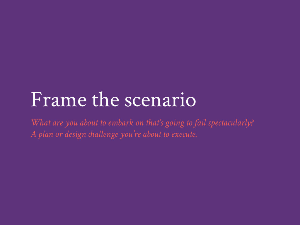 Frame the scenario What are you about to embark...