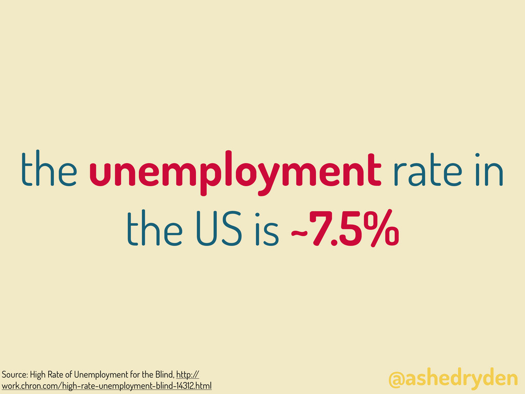 @ashedryden the unemployment rate in the US is ...