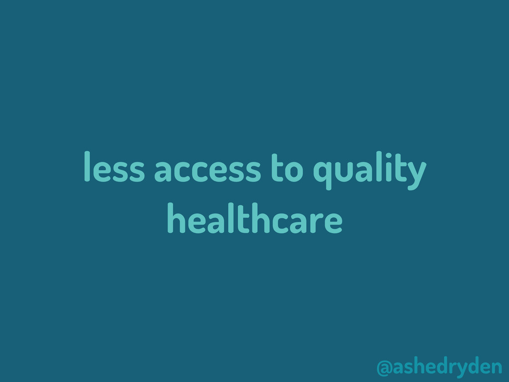 @ashedryden less access to quality healthcare