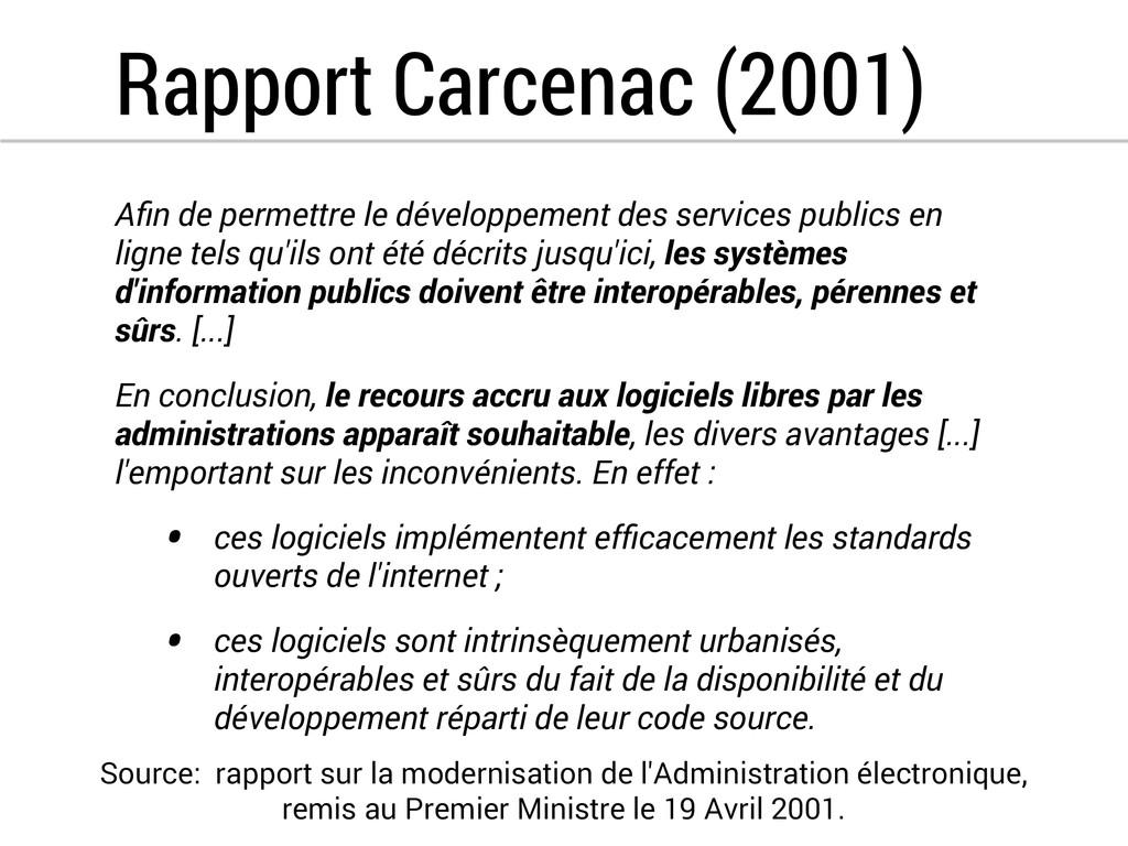 Rapport Carcenac (2001) Afin de permettre le dév...