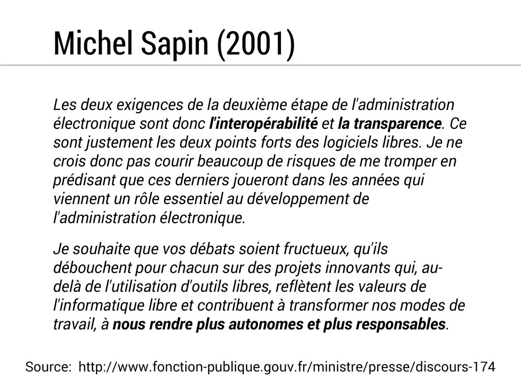 Michel Sapin (2001) Les deux exigences de la de...