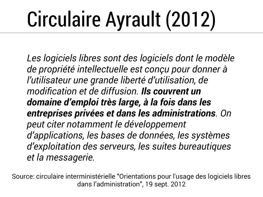 Circulaire Ayrault (2012) Les logiciels libres ...