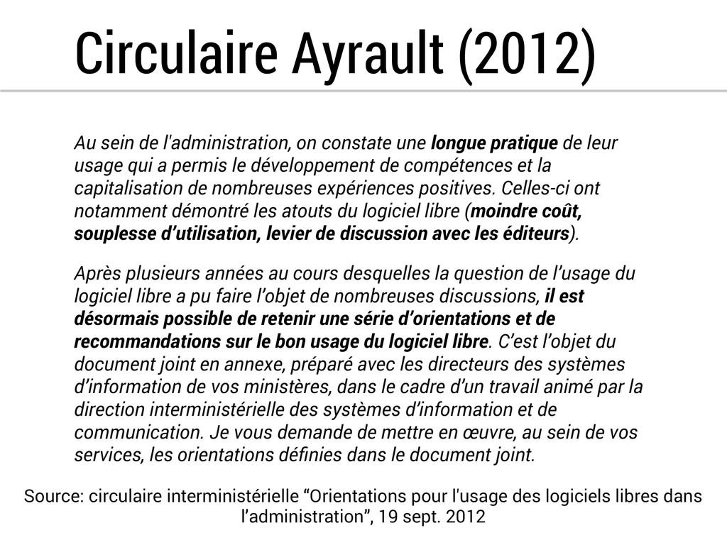 Circulaire Ayrault (2012) Au sein de l'administ...