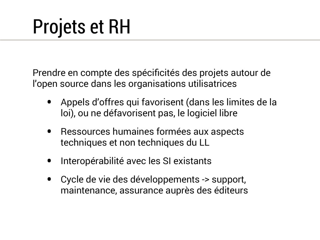 Projets et RH Prendre en compte des spécificités...