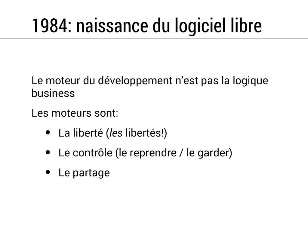 1984: naissance du logiciel libre Le moteur du ...