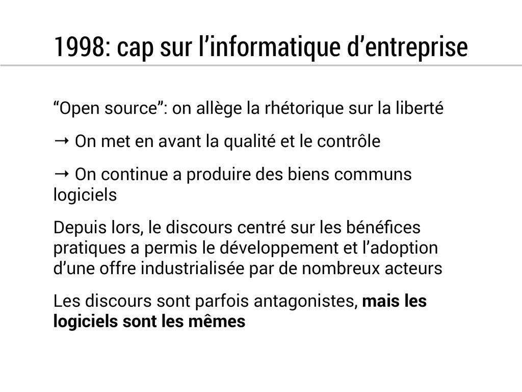 """1998: cap sur l'informatique d'entreprise """"Open..."""
