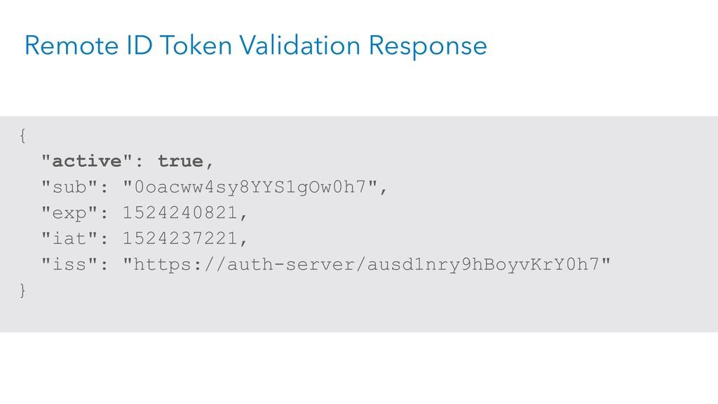 "Remote ID Token Validation Response { ""active"":..."