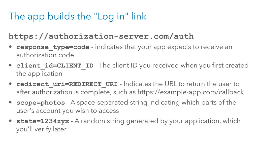 """The app builds the """"Log in"""" link https://author..."""
