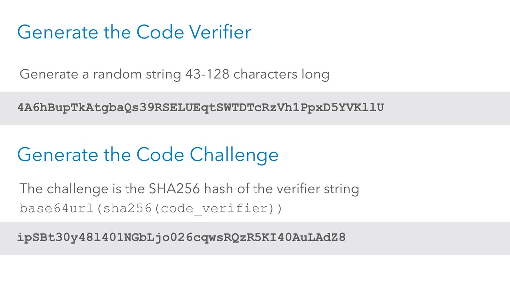 Generate the Code Verifier 4A6hBupTkAtgbaQs39RS...