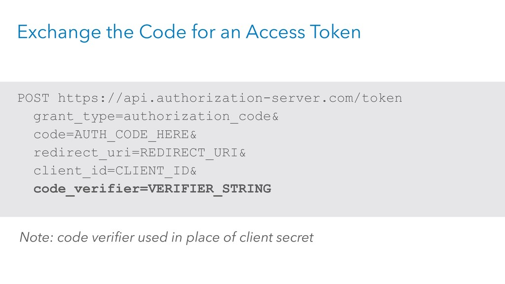 Exchange the Code for an Access Token POST http...