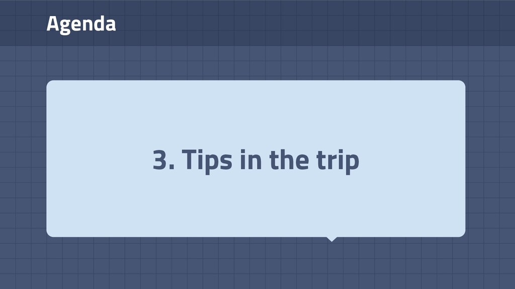 Agenda 3. Tips in the trip