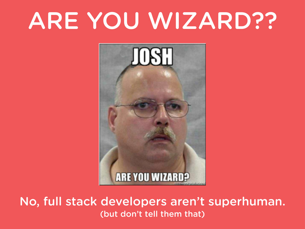 ARE YOU WIZARD?? No, full stack developers aren...