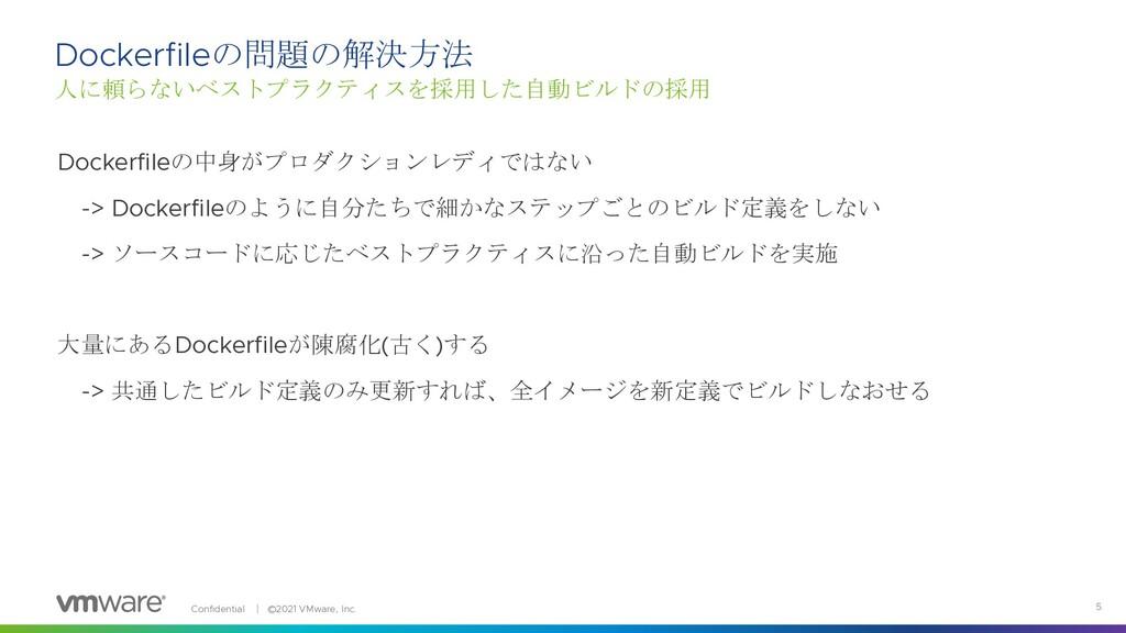 Confidential │ ©2021 VMware, Inc. 5 Dockerfileの...