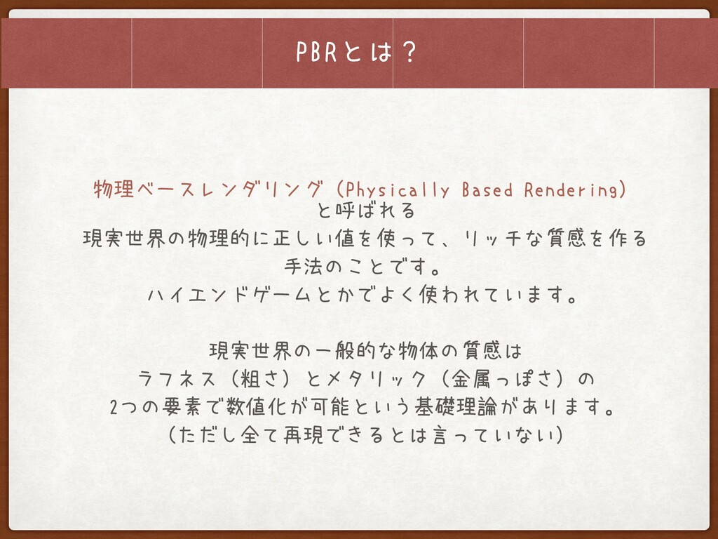 PBRとは? 物理ベースレンダリング(Physically Based Rendering)...