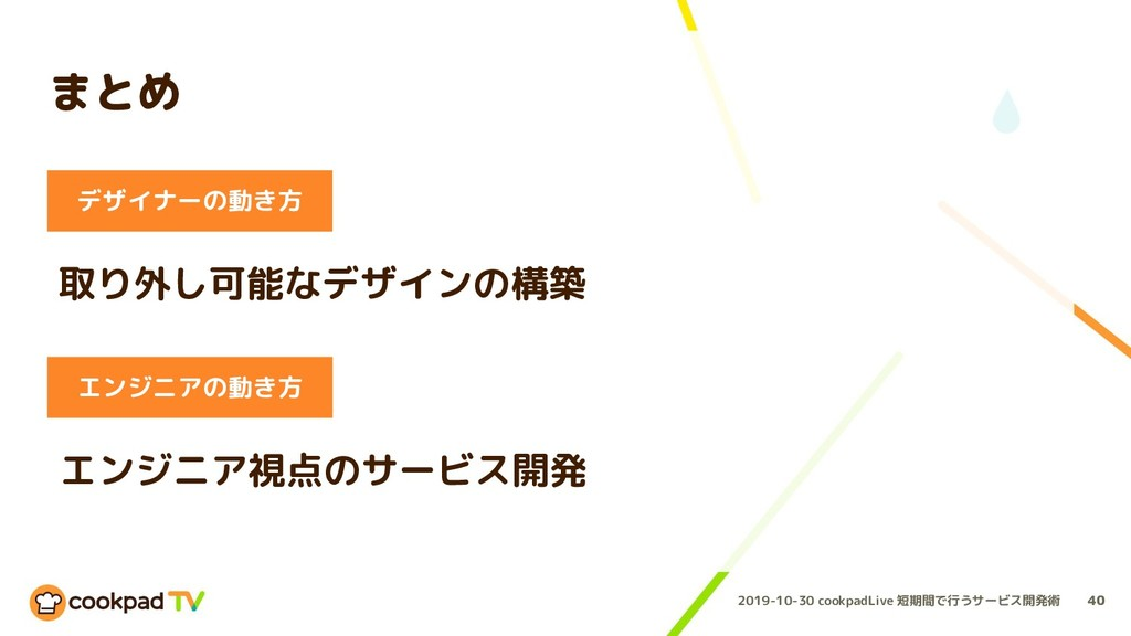 2019-10-30 cookpadLive 短期間で行うサービス開発術 まとめ 40 デザイ...