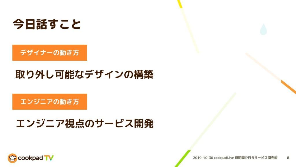 2019-10-30 cookpadLive 短期間で行うサービス開発術 今日話すこと 8 デ...