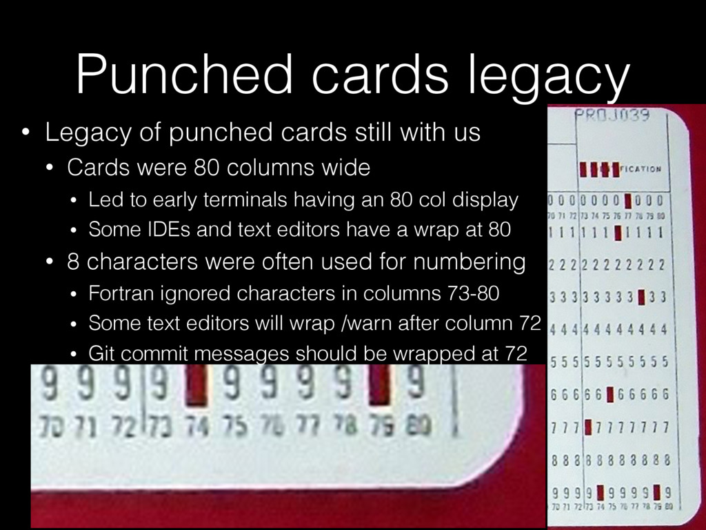 Punched cards legacy • Legacy of punched cards ...