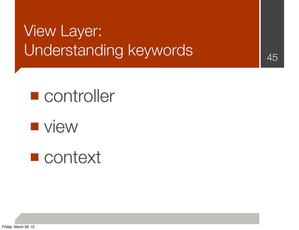 View Layer: Understanding keywords ■ controller...