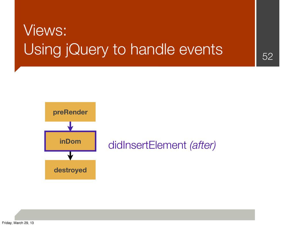Views: Using jQuery to handle events 52 preRend...