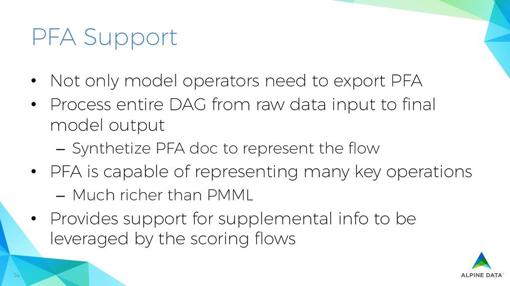 14 PFA Support • Not only model operators need...