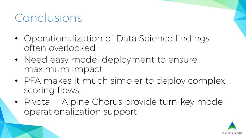 15 Conclusions • Operationalization of Data Sc...