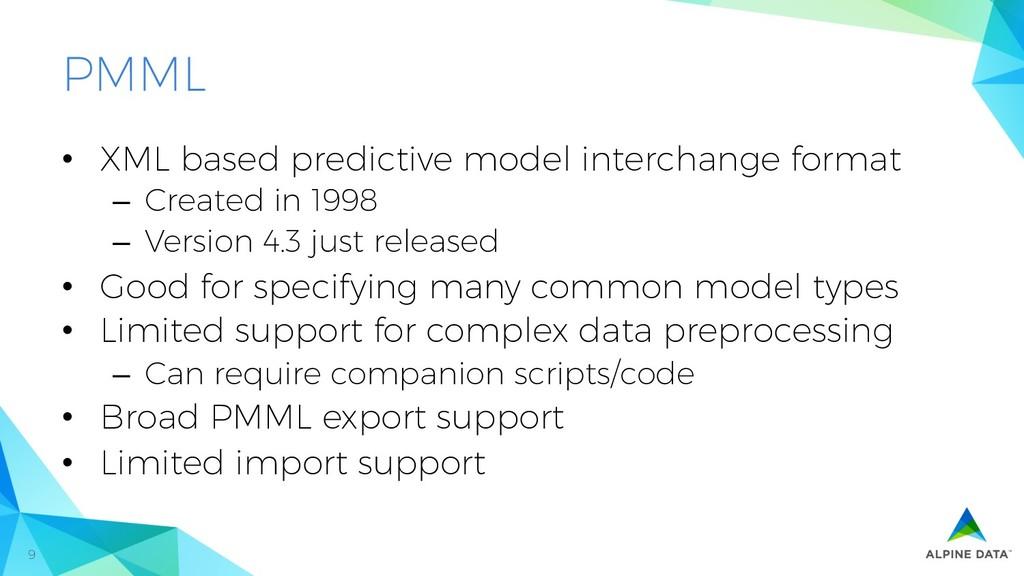 9 PMML • XML based predictive model interchang...