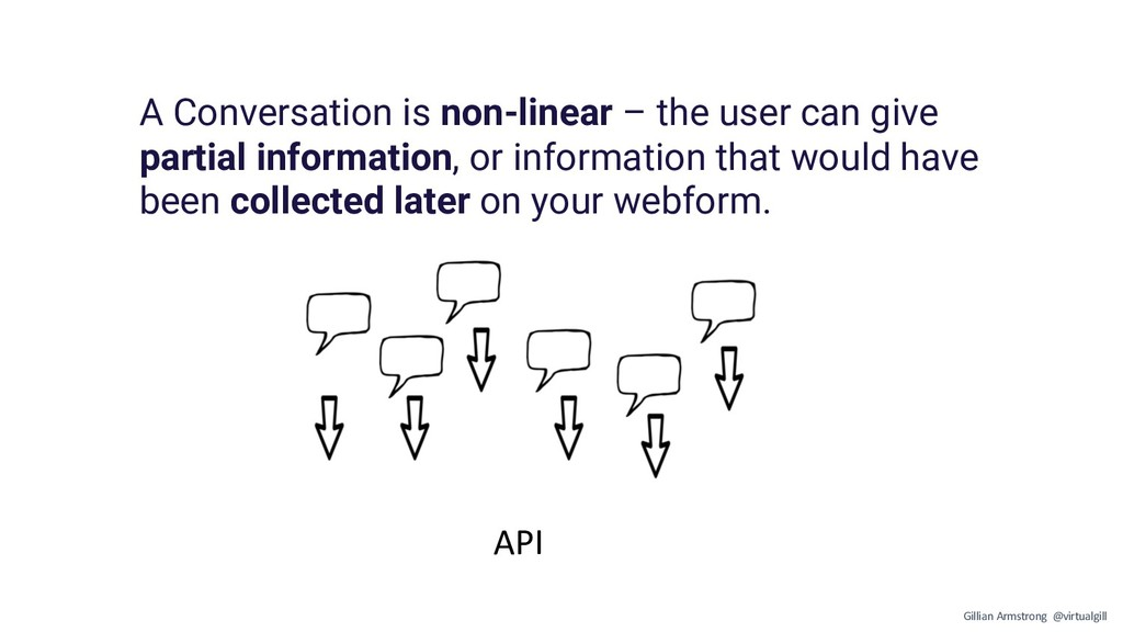 API A Conversation is non-linear – the user can...