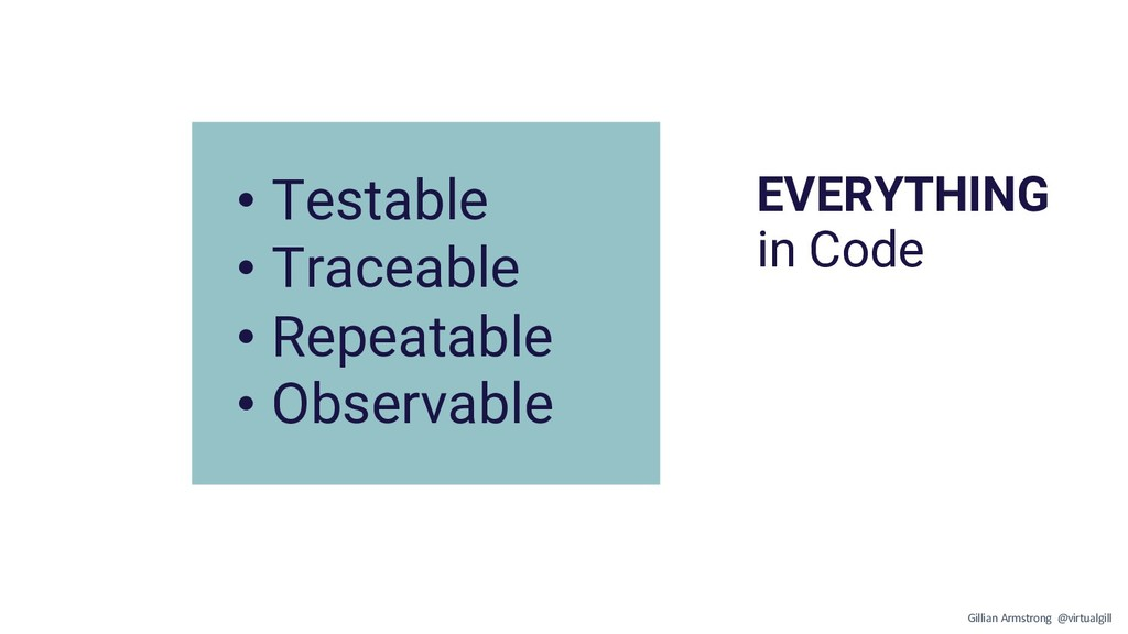 EVERYTHING in Code • Testable • Traceable • Rep...