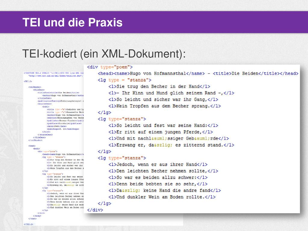TEI-kodiert (ein XML-Dokument): TEI und die Pra...