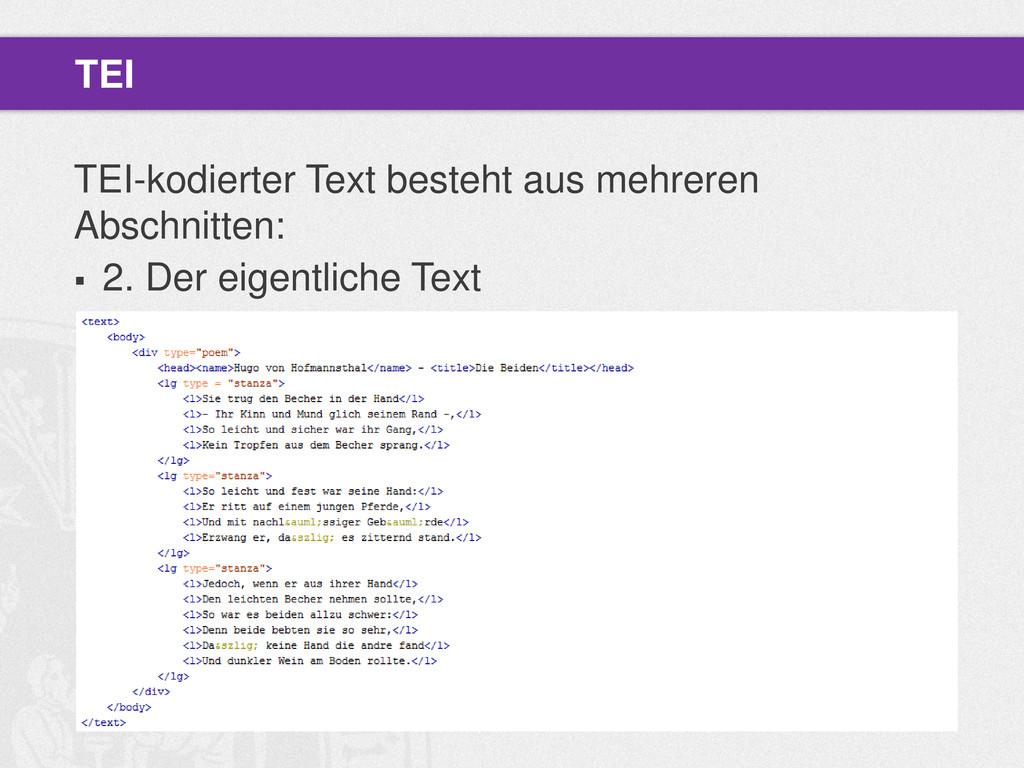 TEI-kodierter Text besteht aus mehreren Abschni...