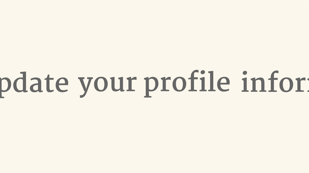 your profile pdate inform
