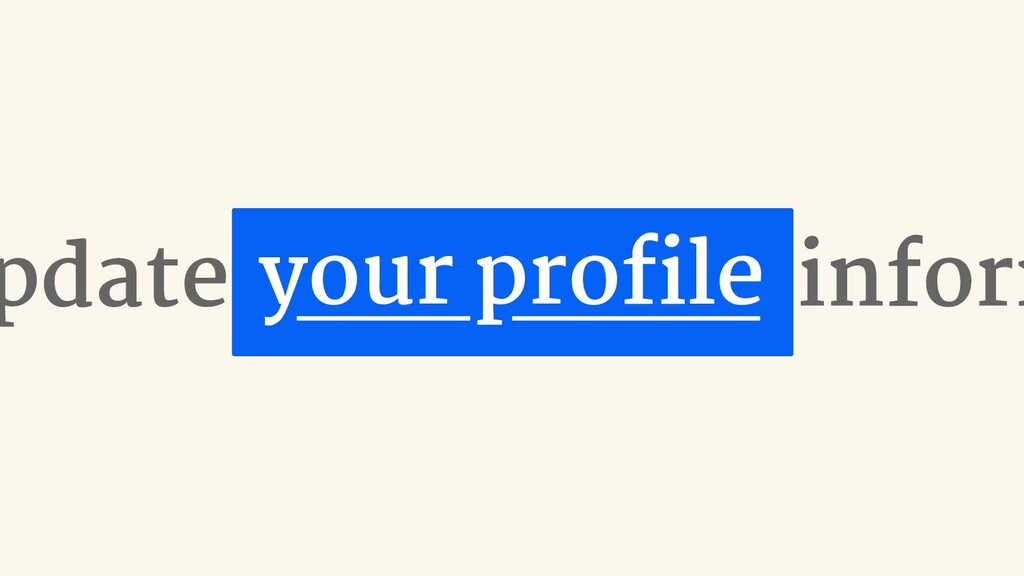 pdate inform your profile