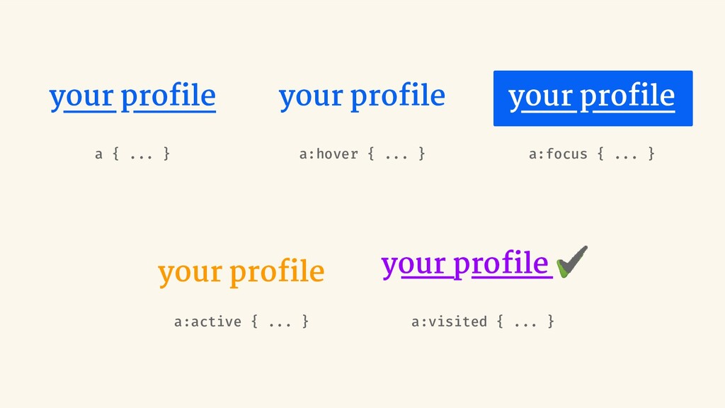 your profile a { ... } your profile a:active { .....