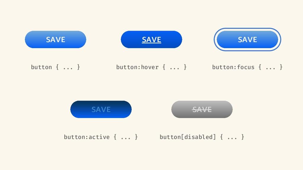 button { ... } SAVE button:focus { ... } SAVE b...
