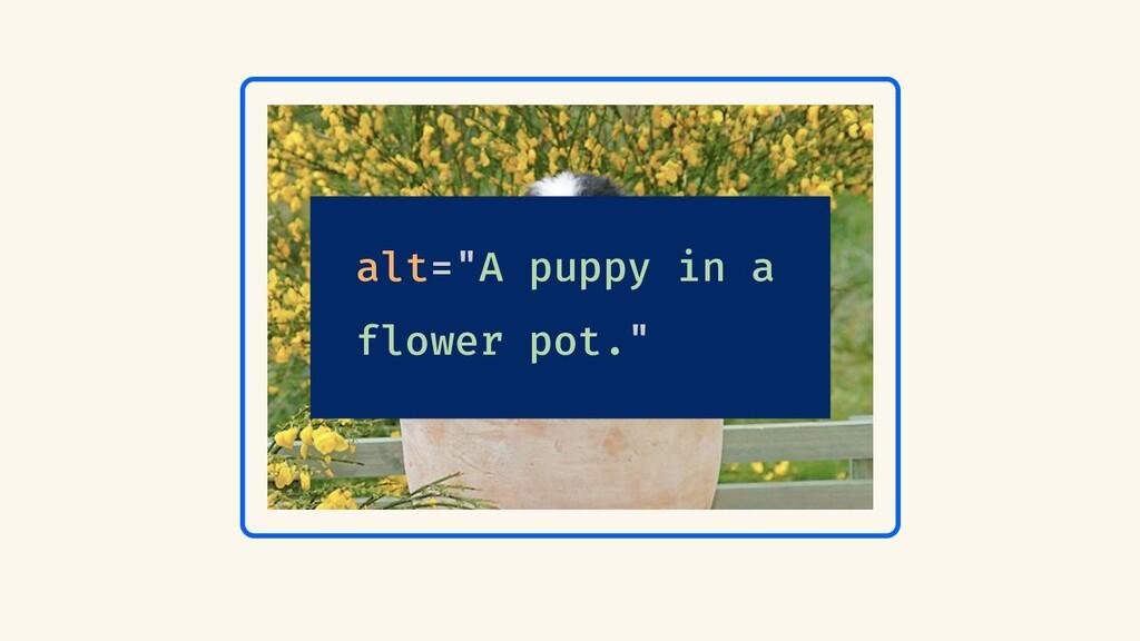 """alt=""""A puppy in a flower pot."""""""