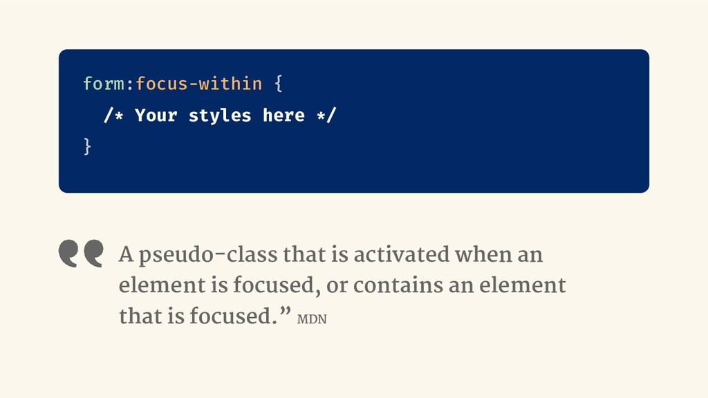 A pseudo-class that is activated when an elemen...