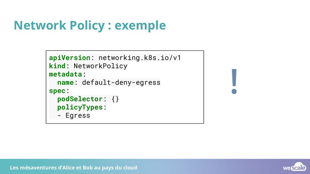 Network Policy : exemple apiVersion: networking...