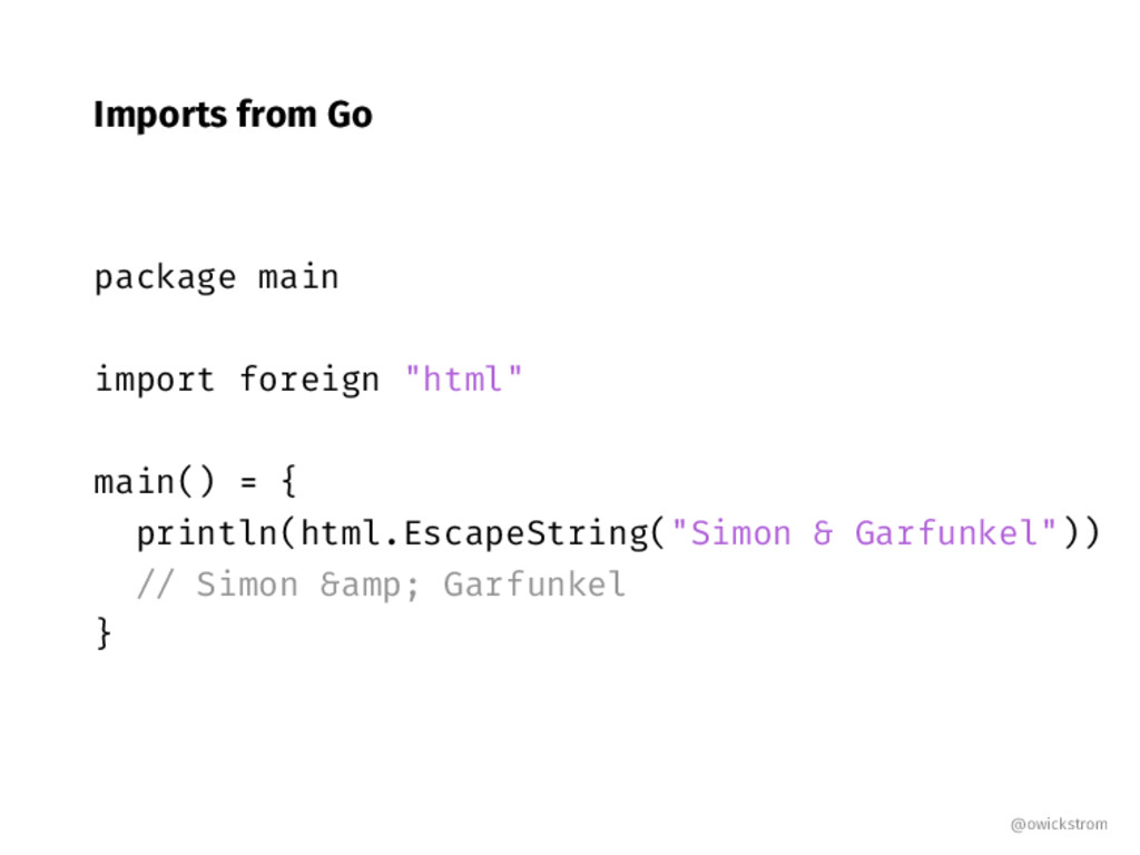"Imports from Go package main import foreign ""ht..."