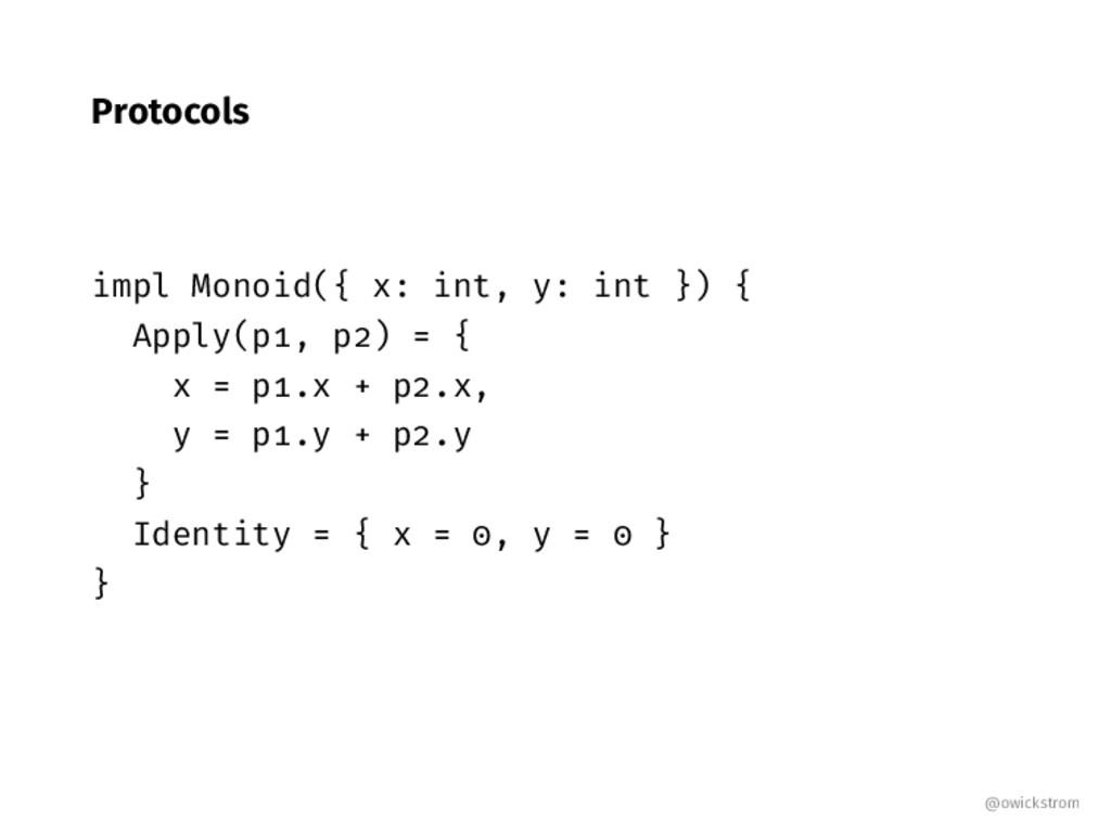 Protocols impl Monoid({ x: int, y: int }) { App...