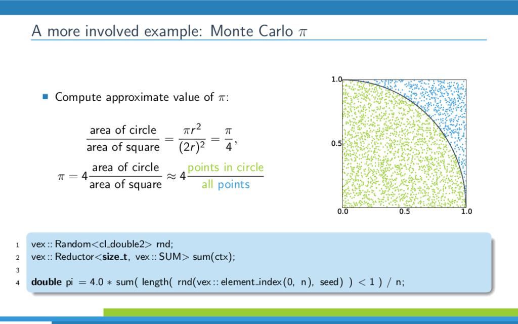 A more involved example: Monte Carlo π Compute ...