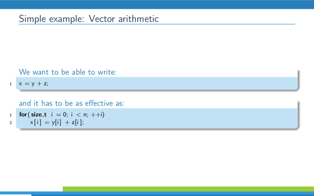 Simple example: Vector arithmetic We want to be...