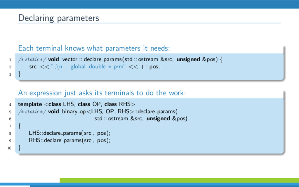 Declaring parameters Each terminal knows what p...