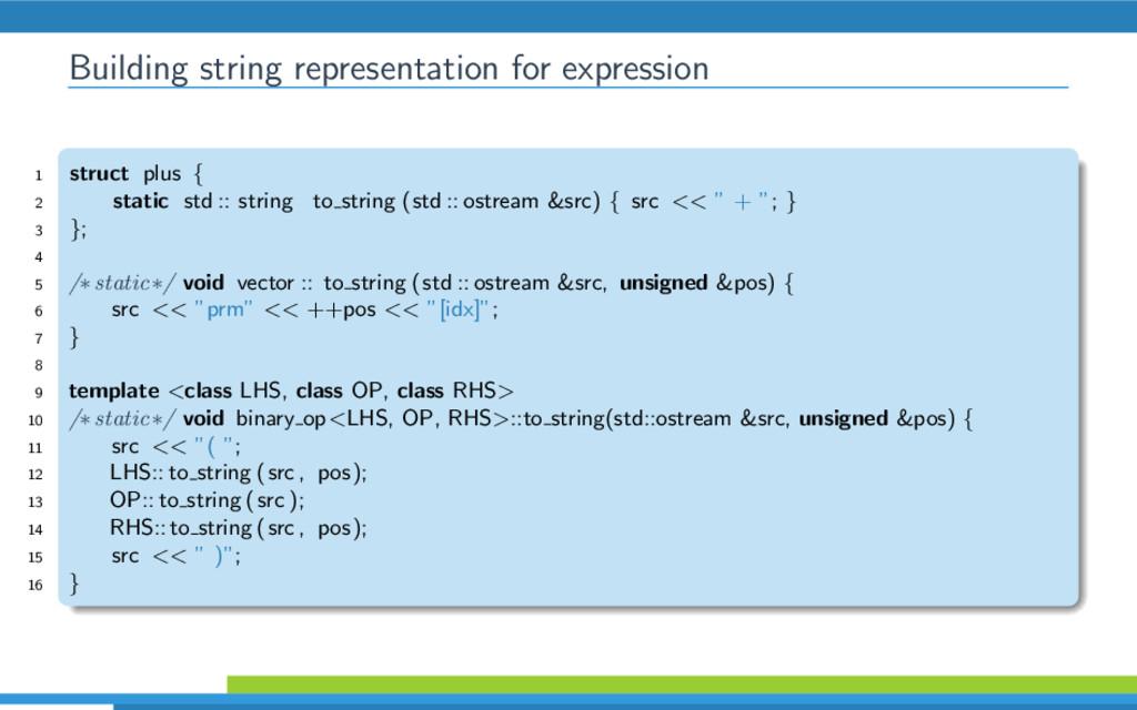 Building string representation for expression 1...