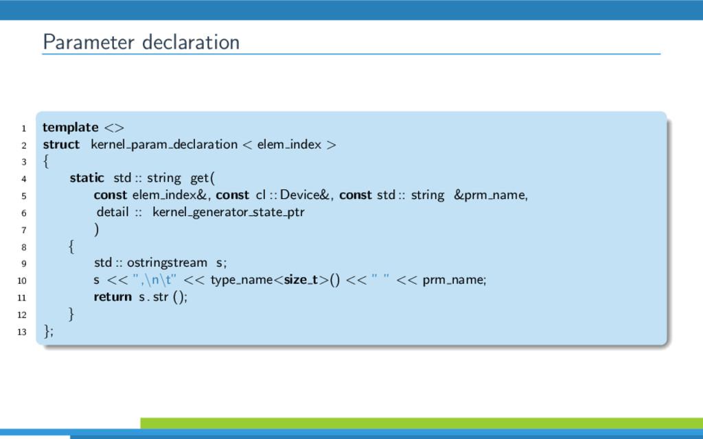 Parameter declaration 1 template <> 2 struct ke...