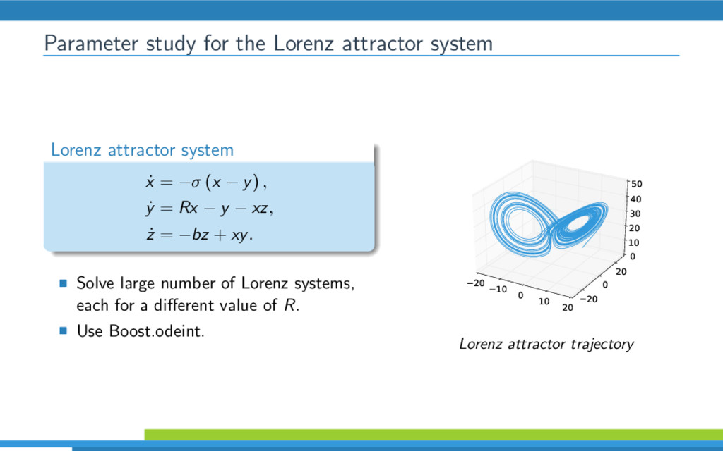Parameter study for the Lorenz attractor system...