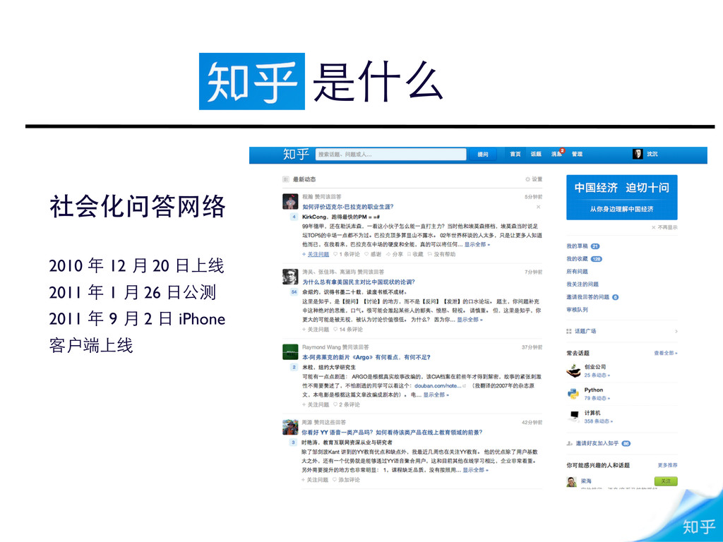 是什么 社会化问答⺴⽹网络 2010 年 12 月 20 ⽇日上线 2011 年 1 月 26...