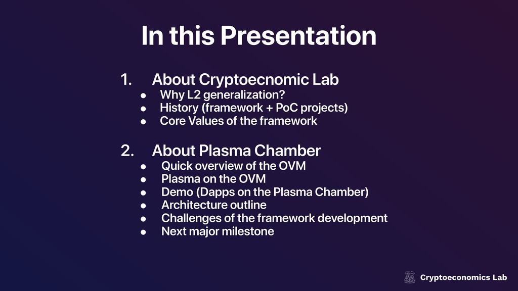 In this Presentation 1. About Cryptoecnomic Lab...